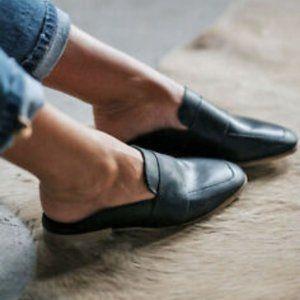 FREE PEOPLE At Ease Mule Women Black Leather Slide Shoe size 38